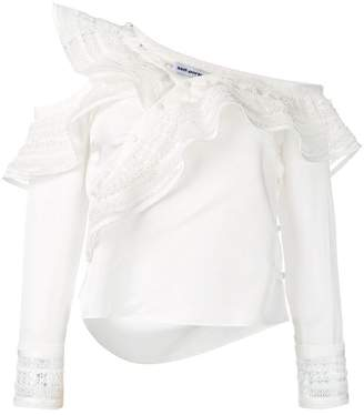 Self-Portrait asymmetric frill blouse