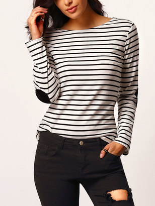 Shein Elbow Patch Boat Neckline Striped Tee