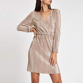 River Island Light pink metallic plisse wrap mini dress