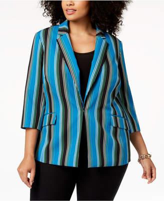 INC International Concepts I.n.c. Plus Size Striped 3/4-Sleeve Blazer