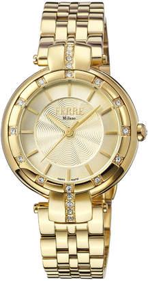 Ferré Milano Women's 34mm Stainless Steel Guilloche Glitz Watch with Bracelet, Golden