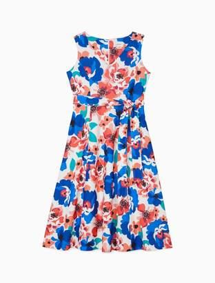 Calvin Klein Floral V-Neck Tie Waist A-Line Dress