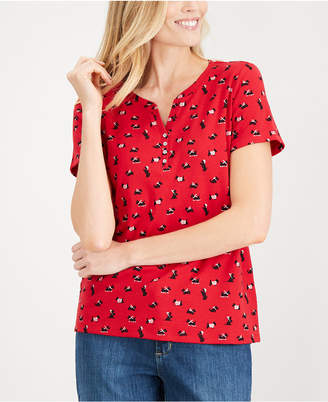 Karen Scott Petite Printed Short-Sleeve Top
