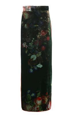 For Restless Sleepers Litai Floral Velvet Maxi Skirt
