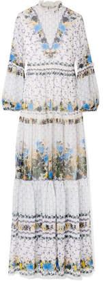 Erdem Cassandra Tiered Silk-chiffon Gown - Blue