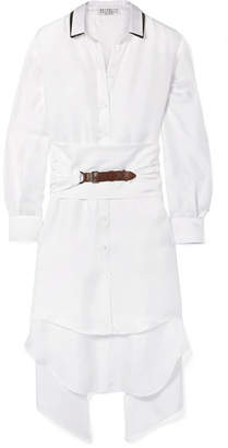 Brunello Cucinelli Oversized Belted Embellished Silk-twill Shirt - White