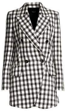 Derek Lam Women's Plaid Linen-Blend Blazer Jacket - Black - Size 38 (2)