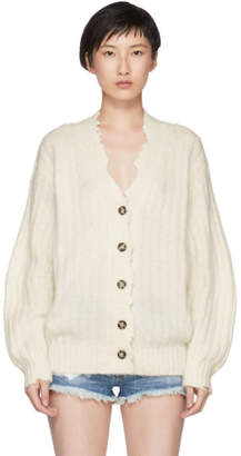 Helmut Lang White Brushed Wool Cardigan