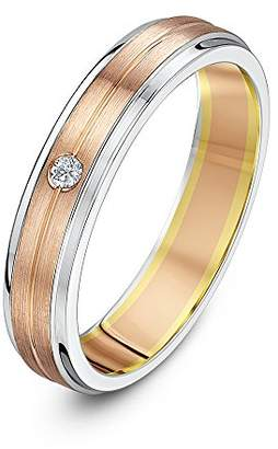 Theia His & Hers 14ct Rose and White Gold Two-Tone 6mm Centre Grooved Wedding Ring - Size S