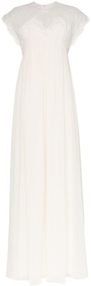 Giambattista Valli cap sleeve lace insert empire line maxi dress
