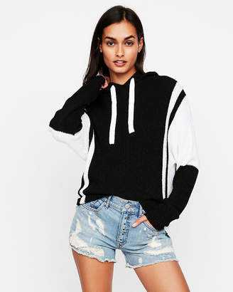 Express Ribbed Color Block Hooded Sweater