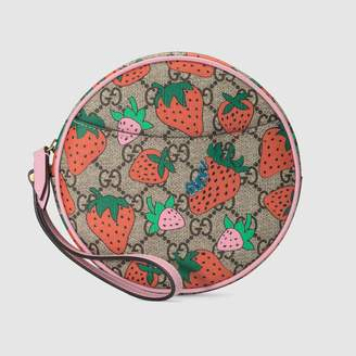Gucci GG wrist wallet with Strawberry print