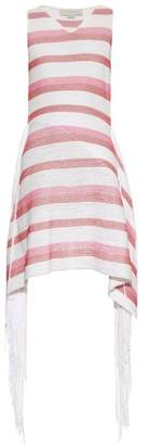 Stella McCartney Fringe Trimmed Striped Knit Dress - Womens - Pink White