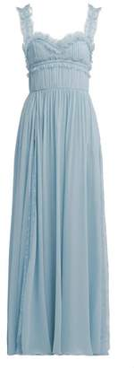 Elie Saab Lace Trimmed Silk Blend Evening Gown - Womens - Light Blue