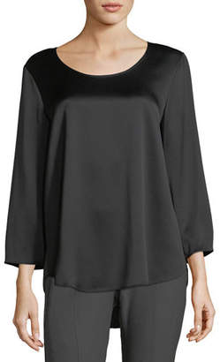 Eileen Fisher 3/4-Sleeve Silk Satin Blouse