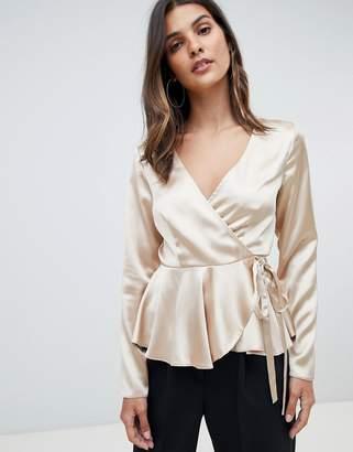 Asos Design DESIGN long sleeve wrap top in satin with pephem
