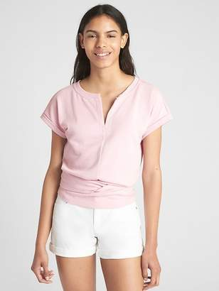 Gap Short Sleeve Split-Neck Wrap Top in French Terry