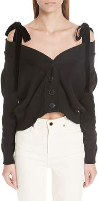 Adeam Velvet Tie Off the Shoulder Button Cardigan