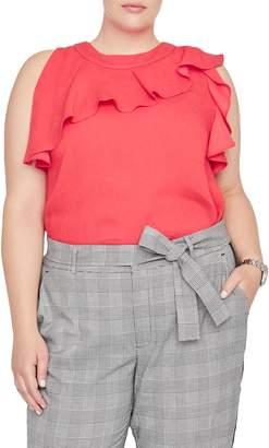 Rachel Roy Collection Ruffle Neck Sleeveless Top