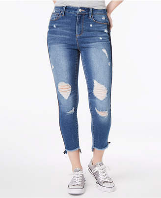 Tinseltown Juniors' Ripped Varsity-Stripe Ankle Skinny Jeans
