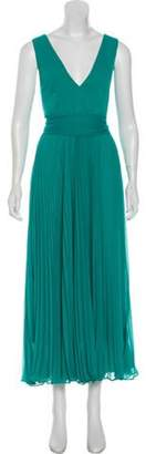 Alice + Olivia Pleated Sleeveless Dress Turquoise Pleated Sleeveless Dress