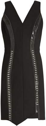 Thierry Mugler Leather-panelled V-neck wool-blend dress