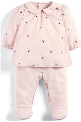 Mamas and Papas Baby Girls Embroidered Mock All In One