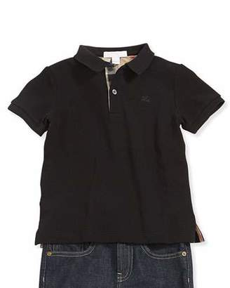 Burberry Check-Trim Pique Polo, Black $75 thestylecure.com