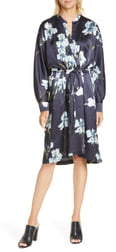 Vince Iris Print Long Sleeve Faux Wrap Dress