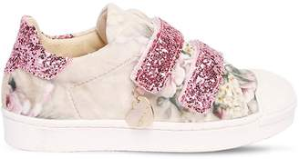 MonnaLisa Floral Print Velvet Strap Sneakers