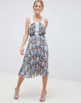 Asos Design DESIGN Pleated Midi Dress In Bright Floral With Lace Trims