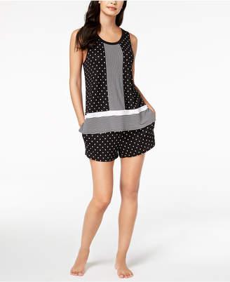DKNY Contrast-Print Boxer Pajama Set