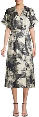 Equipment Printed Silk Wrap Front Dress
