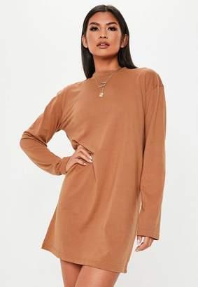 Missguided Rust Long Sleeve T Shirt Mini Dress