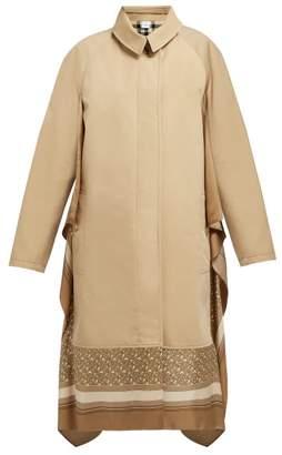 Burberry Silk Trimmed Cotton Gabardine Car Coat - Womens - Beige Multi