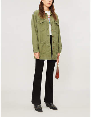 Free People Spruce contrast-panel cotton jacket