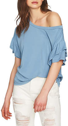 1 STATE Ruffled Elbow-Sleeve T-Shirt