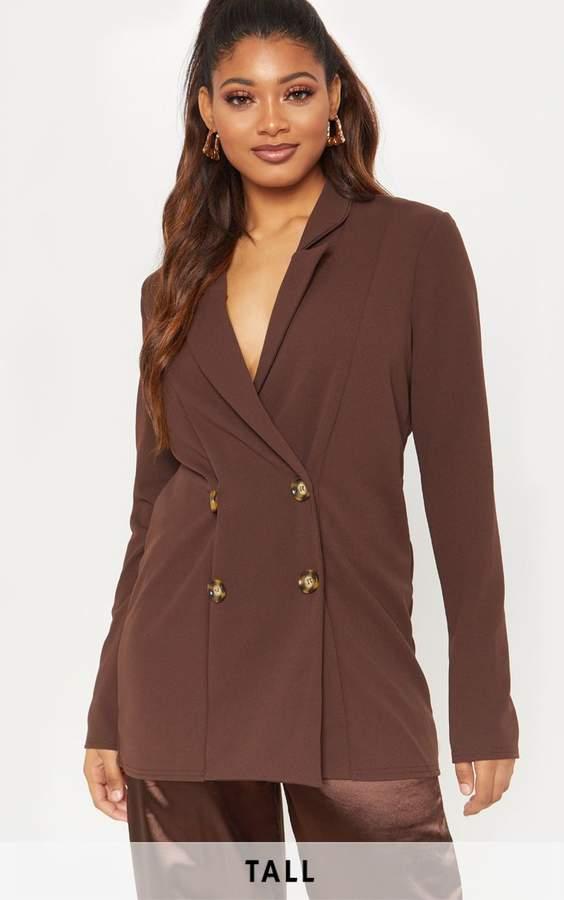 Tall Chocolate Brown Tortoise Button Detail Blazer