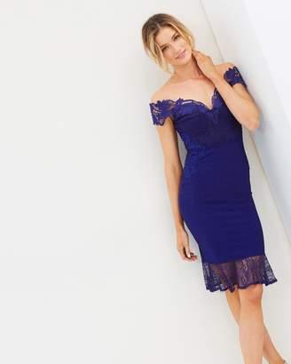 Lipsy Bardot Lace Flippy Hem Dress