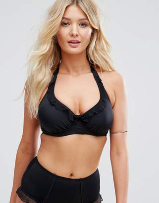 Pour Moi? Pour Moi Frill Halter Underwired Fuller Bust Bikini Top