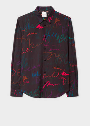 Paul Smith Men's Slim-Fit Black 'Ideas Script' Print Cotton Shirt