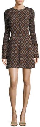 A.L.C. Alexa Kaleidoscope-Print Smocked-Sleeve A-Line Dress