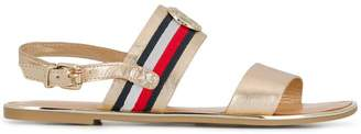 Tommy Hilfiger metallic flat sandals