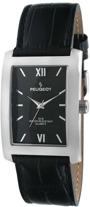 Peugeot Men's Silvertone Black Leather Strap Watch