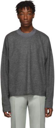 Jil Sander Grey Wool Boxy Crewneck Sweater