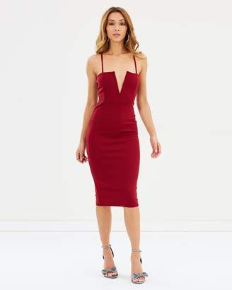 Missguided Strappy V-Bar Midi Dress