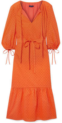 MDS Stripes - Garden Belted Broderie Anglaise Cotton Dress - Bright orange