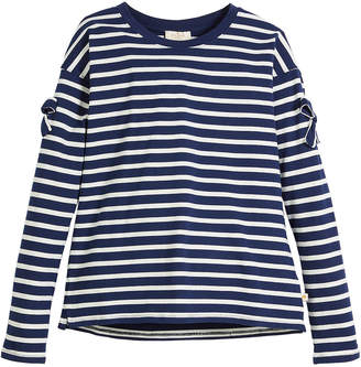 Kate Spade striped long-sleeve tee w/ bow trim, size 7-14