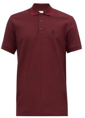 Burberry Walton Embroidered Logo Cotton Pique Polo Shirt - Mens - Burgundy
