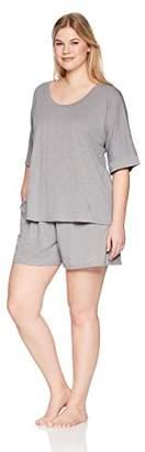 Arabella Women's Plus Size Boxy Tee and Short Pajama Set